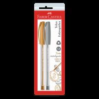 Caneta Esferográfica Faber-Castell Trilux Colors 1.0mm Prata e Ouro Ctl c/ 2 Unid (24 Ctl/cada) - SM/032PO