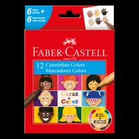 Canetinha Hidrogr�fica Faber-Castell Caras & Cores 6+6 Tons de Pele (12 Es/cada) - 15.0112CCZF