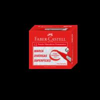 Pincel Marcador Faber-Castell Permanente Vermelho (12 Unid/cada) - NMP/VM