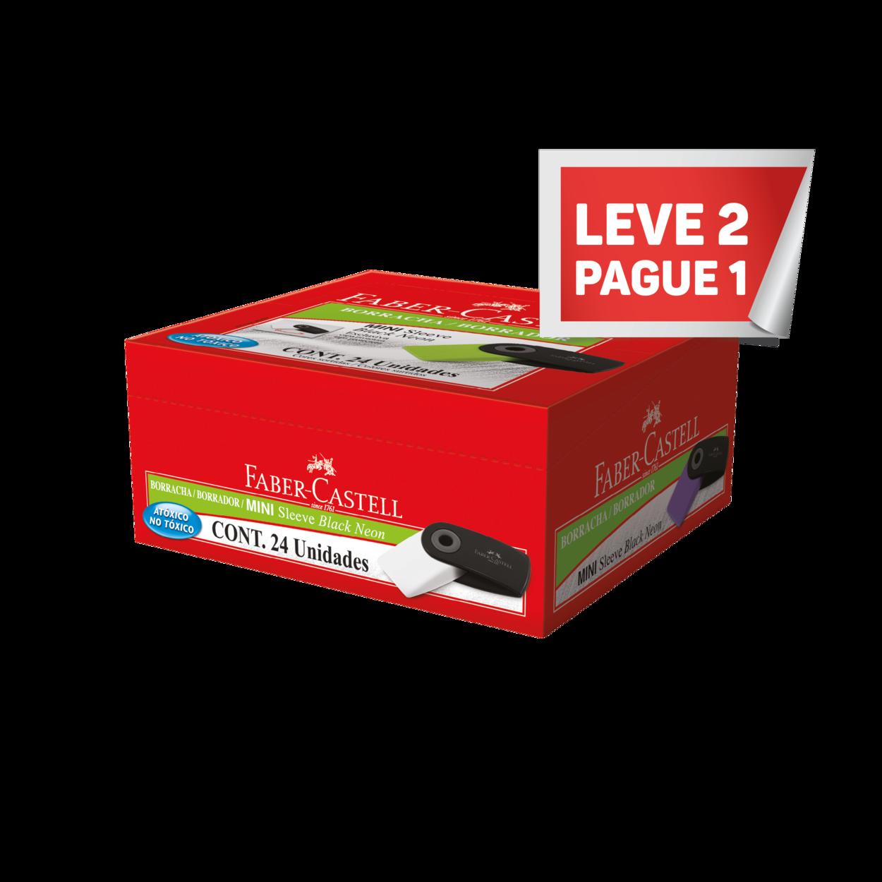 Leve 2 Pague 1 Borracha Faber-Castell Mini Sleeve Black Neon Mix (24 Unid/cada) - MSLEEBOBN