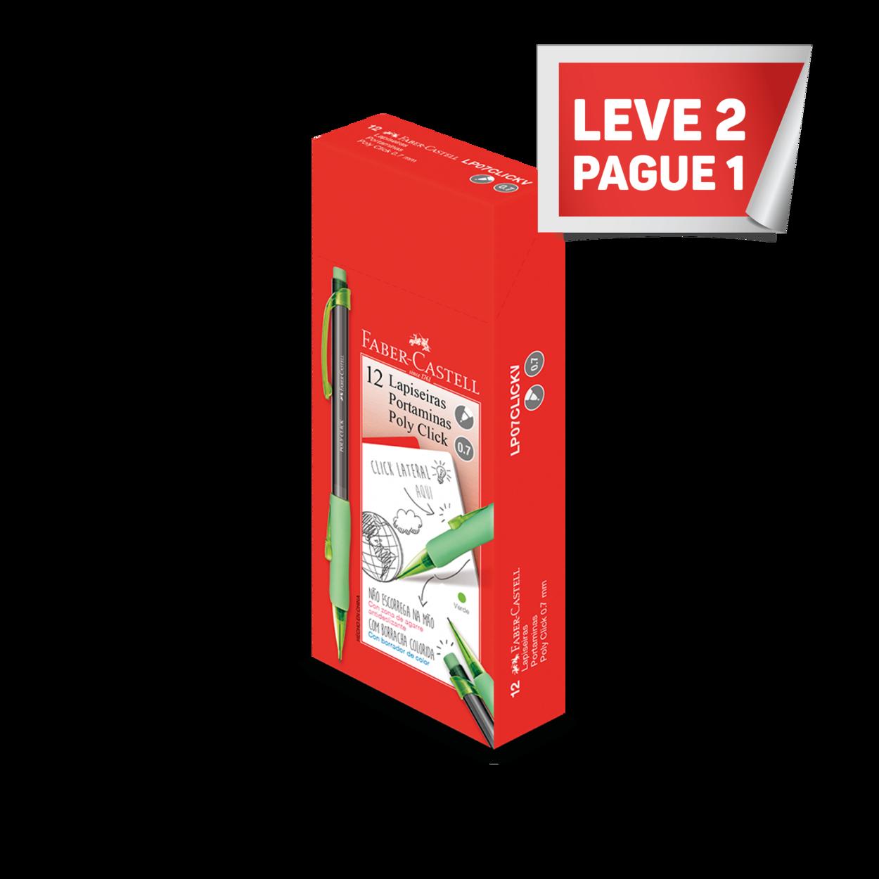 Leve 2 Pague 1 Lapiseira Poly Click 0.7mm Verde (12 Unid/cada) - LP07CLICKV